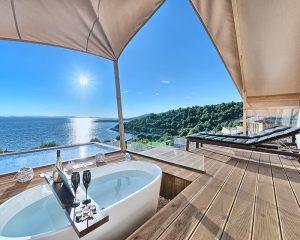 Glamping for 2 luxury terrace Golden Haven resort Murter Croatia
