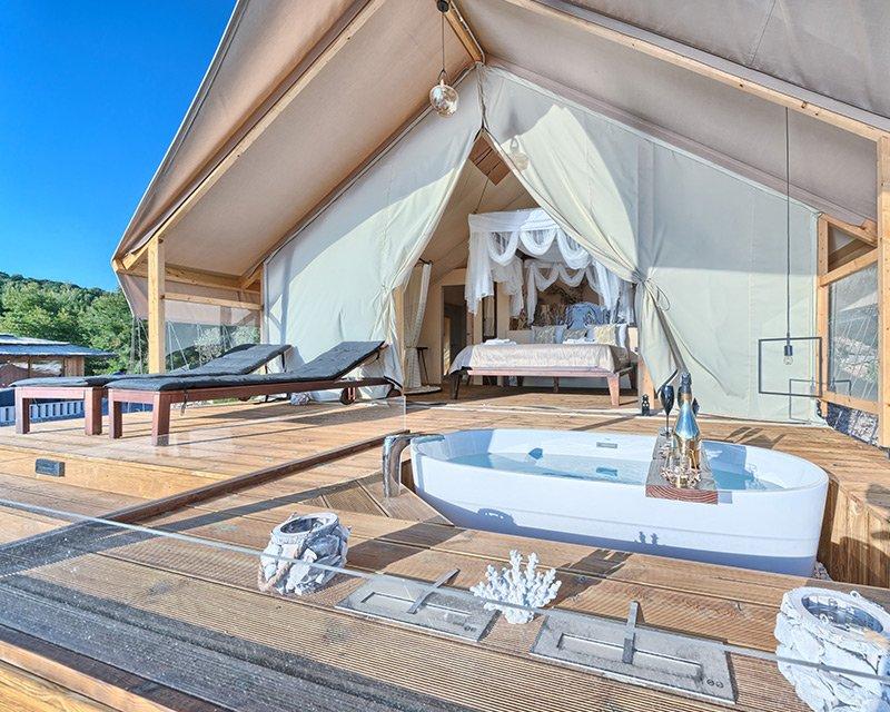 Glamping for 2 terrace Golden Haven resort Murter Croatia